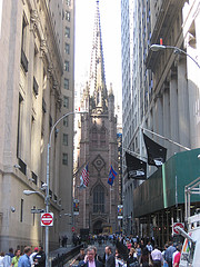 Trinity Church Stands At The End Of Wall Street