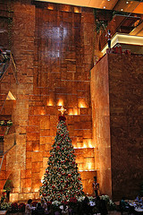 Beautiful Christmas Tree Set Against A Wall Waterfall At Trump Tower.
