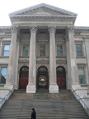 A Person Goes Pass The Steps Of The Tweed Court House Also Known As Old New York County Courthouse.