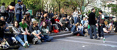 A Panoramic Shot Of People In The Union Square Park