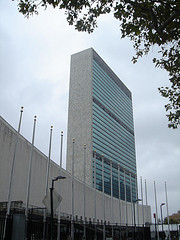Approaching The United Nations Headquarters On A Mostly Cloudy Day.