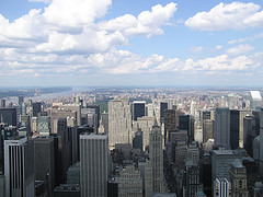 A View From The Empire State Building Shows Blue Skies Over Upper Manhattan