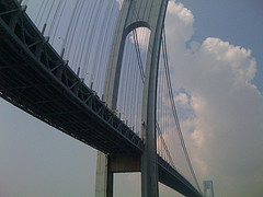 Underneath The Verrazano-narrows Bridge On A Sunny Day