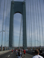 Racing Participants Enjoying Their Time, With No Cars, While Crossing The Verrazano-narrows Bridge.