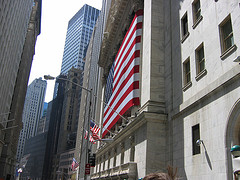 The Flag Outside Of The New York Stock Exchange On Wall Street.