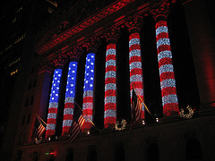 Holiday Lights On The New York Stock Exchange Near Wall Street