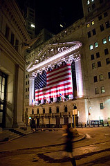 Lights Illuminate The Flag On Wall Street On This Night.