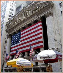 Wall Street Filled With Ice Cream, Frozen Lemonade And Draped In American Pride.