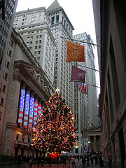 A Look At The Beautifully Lit Christmas Tree On Wall Street.