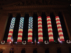 Wall Street Sports Patriotic Themes When It Decorates For Christmas