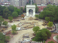 Overhead View Of New Fountain Being Installed In Washington Square Park