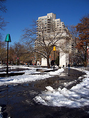 Snow Melts On A Crisp Day In Washington Square Park, New York City