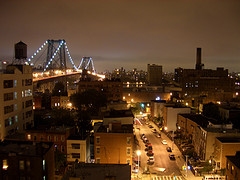 The Bright Lights Of The Williamsburg Bridge And Surrounding Area