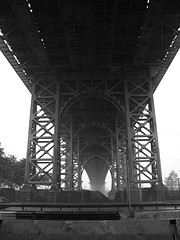 Black And White Photo Of Williamsburg Bridge.