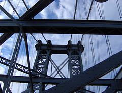 Looking Through All The Spokes And Rails Of The Williamsburg Bridge A Nice Bright Blue Sky As A Backdrop.