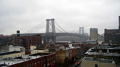 The Williamsburg Bridge On A Misty Morning. The Bridge Was Once The Longest Suspension Bridge On Earth.