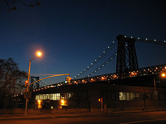 A Fuzzy Night Shot Of The Williamsburg Bridge