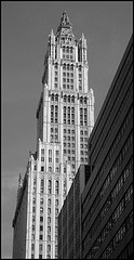 Black And White Photo Of 57 Story Woolworth Building Located In New York City.