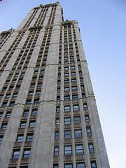 The Historic Woolworth Building Against A Manhattan Blue Sky