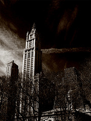 A Very Dark And Scary Shot Of The Woolworth Building During A Storm