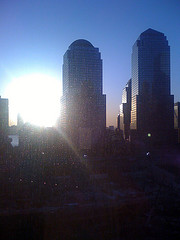 The World Financial Center In Front Of A Sunrise