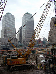 Crane Working In The Center Of The World Trade Center Site.