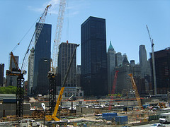 Construction Cranes Dance Upon The Site Of The World Trade Center.