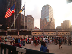 A Crowd Gathers At The World Trade Center Site.