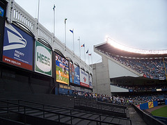 The Mostly Empty Outfield Stands Of Historic Yankee Stadium