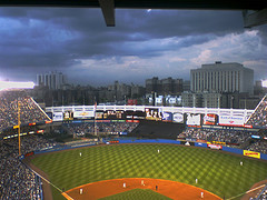 A Photo Of Yankee Stadium From The Upper Deck, A Storm Caused The Lights To Be On