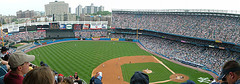 A Packed Crowd Cheers As The Game Goes On At The Yankee Stadium